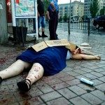 Dead civilian, killed by shelling in Sloviansk